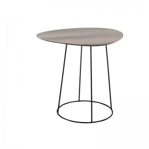 Table gigogne ovale j-line - mdf / metal naturel / noir J-Line