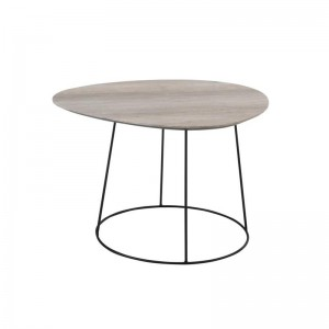 Table de salon ovale j-line - mdf / metal naturel / noir small J-Line