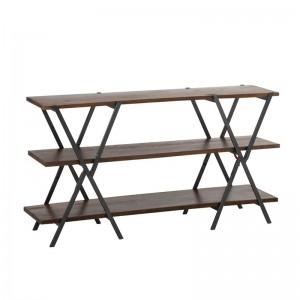 Console x rectangulaire j-line - bois / metal marron / noir J-Line