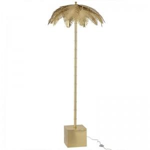 Lampe sur pied feuilles de coco j-line - acier or J-Line