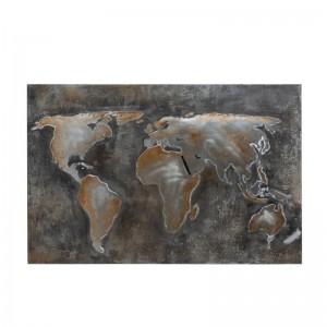 Peinture monde abstrait j-line - canevas / metal gris / marron J-Line