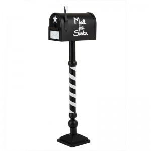 Boite aux lettres decorative mail for santa/lettres au pere noel j-line - metal noir / blanc J-Line
