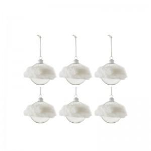 Boite de 6 boules de Noël + fourrure j-line - blanc verre transparent small J-Line