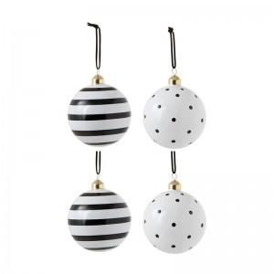 Boite de 4 boules de Noël pois /l ignes j-line - verre noir / blanc medium J-Line