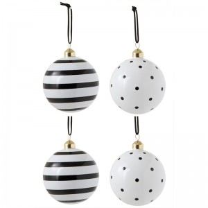 Boite de 4 boules de Noël pois / lignes j-line - verre noir / blanc large J-Line