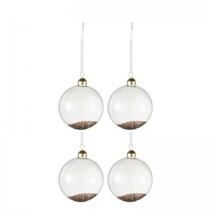Boite de 4 boules de noel decoratives j-line - verre transparent / or medium J-Line