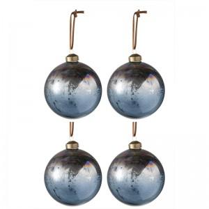 Boite de 4 boules de Noël j-line - verre antique bleu / marron medium J-Line