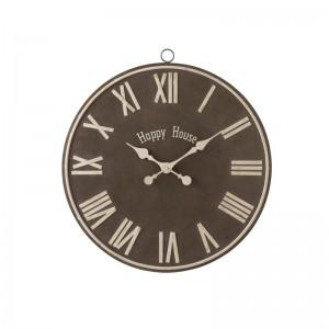 Horloge happy house j-line - metal marron small J-Line