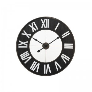Horloge chiffres romains j-line - metal noir / miroir J-Line