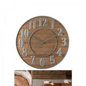 Horloge chiffres arabes bois j-line - naturel / metal argent J-Line