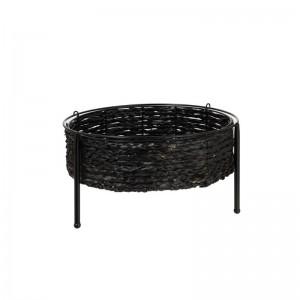 Table gigogne panier j-line - metal rotin noir J-Line
