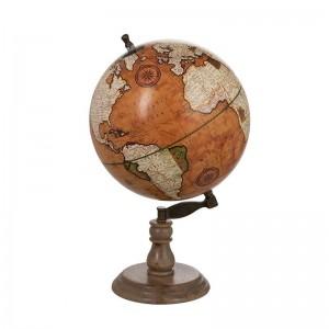 Globe sur pied bois j-line - rouille / naturel large J-Line