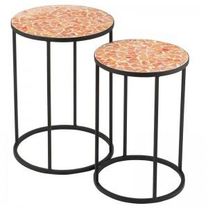 Set de 2 tables gigognes eclat mosaique j-line - metal / verre noir / orange J-Line