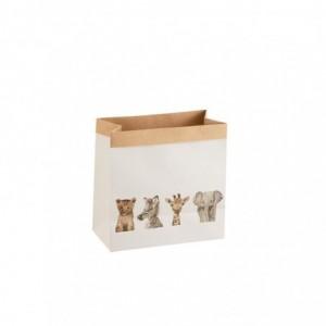 Sac animaux safari papier j-line - blanc small J-Line