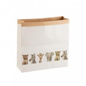 Sac animaux safari papier j-line - blanc large J-Line