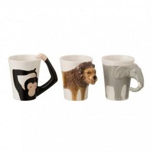 Tasse éléphant lion singe ceramique mix assortiment de 3 j-line - blanc J-Line