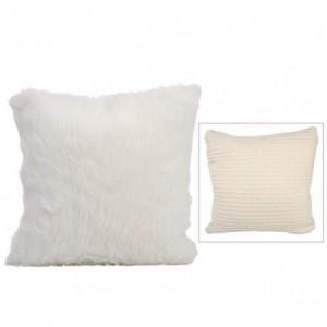 Coussin tricote/ imit four j-line - bge/cr 45x45cm J-Line