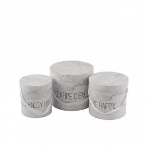 Set de 3 boite marbre haute enjoy j-line - blanc/argent J-Line
