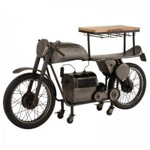 Bar motocyclette 12 verres 6 bouteilles j-line - metal / bois de manguier gris fonce / naturel J-Line