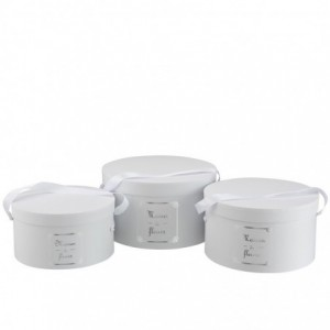Set de 3 boites ronde maison papier blanc/argent j-line - J-Line