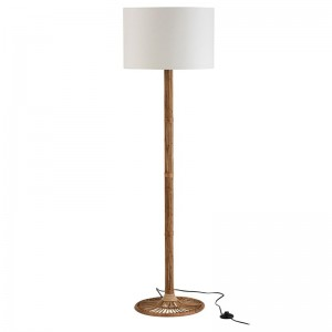 Lampe sur pied + abat-jour naia j-line - rotin naturel / blanc J-Line