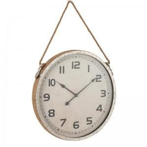 Horloge ronde j-line - metal argent / corde jute J-Line