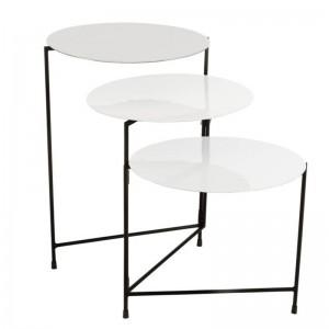 Table ronde 3 parties j-line - metal laque blanc J-Line