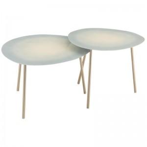 Set 2 tables gigognes j-line - metal laque bleu clair J-Line