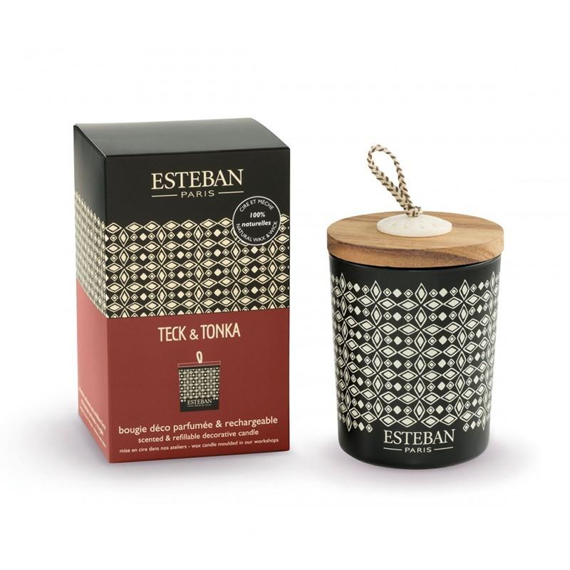 Bougie Déco Parfumée Rechargeable Esteban - Teck et Tonka Esteban