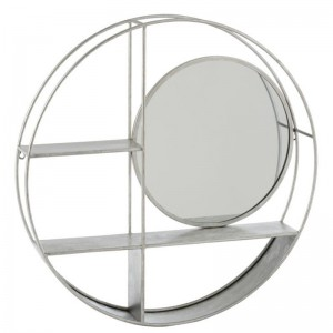 Etagere murale rond 2planches j-line - miroir fer argent J-Line