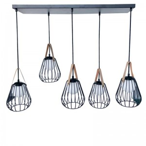 Lampe suspendu ignes 5lampes j-line - acier / verre noir J-Line