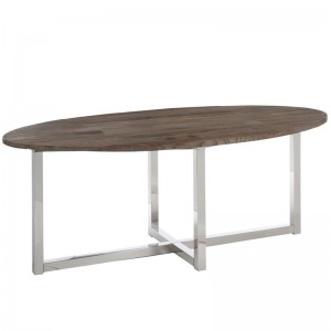 Table a manger ovale j-line - bois / inox marron J-Line
