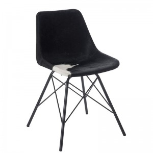 Chaise croix j-line - metal / peau de chevre noir / blanc cm J-Line