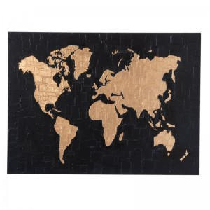 Peinture planisphere canevasj-line - bois noir / or J-Line