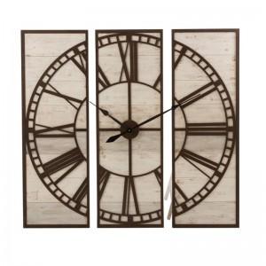 Horloge 3 parties carre chiffres romains j-line - bois blanc / metal marron J-Line