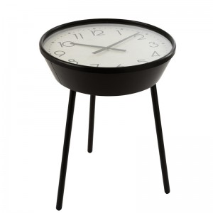 Table gigogne horloge chiffres arabes j-line - metal marron J-Line