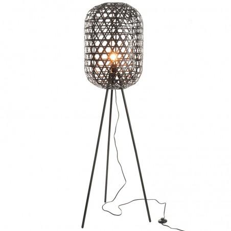 Lampe trepied ronde j-line - bambou / metal noir J-Line