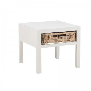 Table de nuit + 1 panier bois j-line - blanc J-Line
