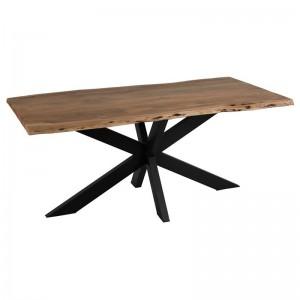 Table a manger plateau irregulier j-line - metal / bois noir / naturel J-Line