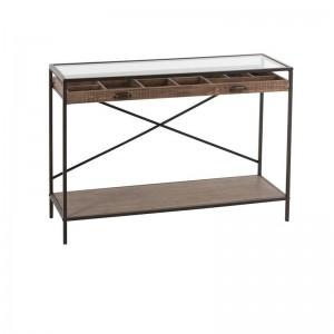 Console tiroir compartimente j-line - bois / metal marron J-Line