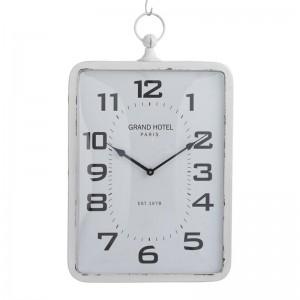 Horloge rectangulaire metal j-line - blanc verre large J-Line