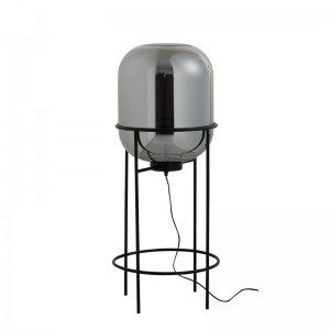 Lampe sur pied sasha j-line - verre / metal argent / noir medium J-Line