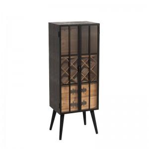 Meuble bar 2 tiroirs j-line - bois / verre noir J-Line
