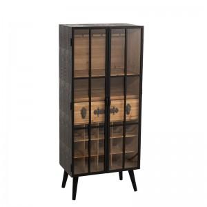 Meuble bar 1 tiroir j-line - bois / verre noir J-Line