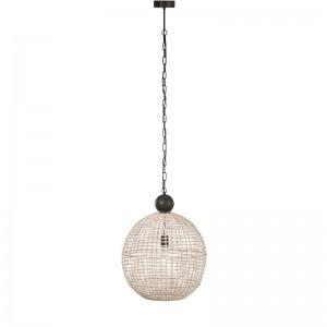 Lampe suspendue boule rotin j-line - blanc J-Line