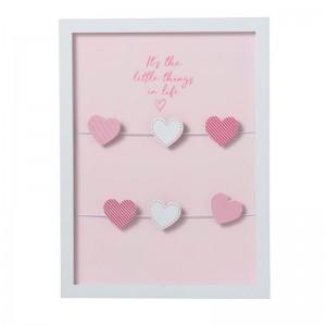 Cadre photo vertical 6 clips coeur bois j-line - rose J-Line