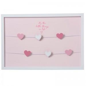 Cadre photo horizontal 6 clips coeur bois j-line - rose J-Line