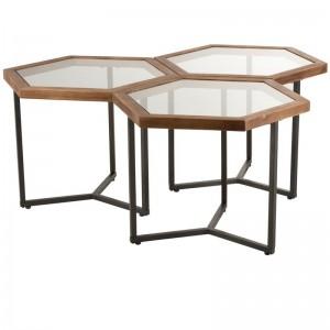 Set De 3 Tables D'appoint Hexagonales - Verre / Bois marron J-Line