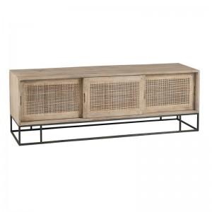 Meuble tv 3 portes coulissantes rotin tisse bois de manguier j-line - naturel J-Line