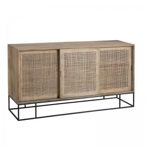 Armoire 3 portes coulissantes rotin tisse bois de manguier j-line - naturel J-Line